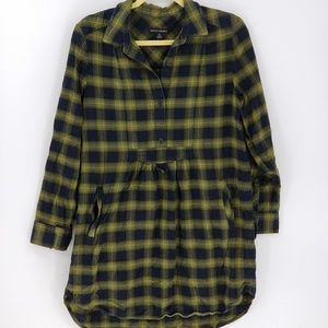 Banana Republic Plaid Flannel Tunic Dress w Pocket